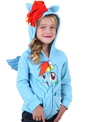 My Little Pony Rainbow Dash Face Kids Sky blau Kostüm Hoodie Sweatshirt With Mane, Wings And Tail (Kids 4) Face Kids Sweatshirt
