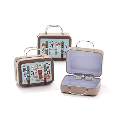 12pz scatola forma bagaglio valigia borsa in materiale ferro-portaconfetti bomboniere tema viaggio mondo (b7)