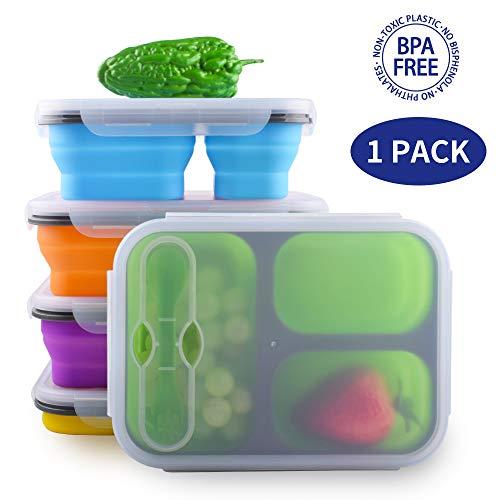 Dalebox Faltbare Lunchbox - luftdicht erweiterbar Silikon 3 Fächer große Bento Box Kit-BPA-frei, sicher in Mikrowelle, Spülmaschine & Gefrierschrank (1 Pack) grün (Utensil Expandable)