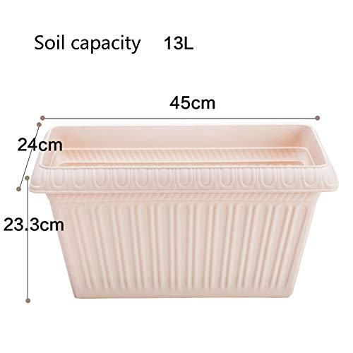 Épaissir Imitation céramique Plastique Grande Rectangle Pot de Fleur Plantation de Pots de Fleurs Balcon Légumes-V 13L