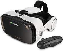 ELEGIANT 3D VR Gafas de Vídeo 3D Remoto Controlador Bluetooth VR Realidad Virtualcon Lente Ajustable y Correa para Celurares Inteligente iPhone 7 6 6Plus 6s 5S Samsung HTC One M LG Sony usw