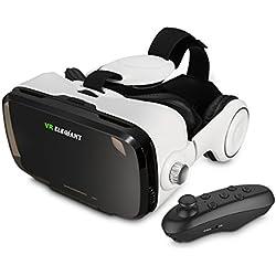 ELEGIANT 3D VR Headset Virtuelle Realität Headset Virtual Reality Brille Headset 3D VR Brille 3D Filme Video Box mit Kopfhörer + Bluetooth Controller Fernbedienung für 3D Fiome und Spielen Kompatibel mit 4 ~ 6 Zoll Smartphones iPhone 6 6Plus 6s 5S Samsung Note S5 S6 Edge Plus Note 3 4 5 HTC One M LG Sony usw