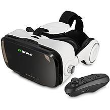 ELEGIANT 3D VR Headset Virtuelle Realität Headset Virtual Reality Brille Headset 3D VR Brille 3D Filme Video Box mit Kopfhörer + Bluetooth Controller Fernbedienung für 3D Fiome und Spielen Kompatibel mit 4 ~ 6 Zoll Smartphones iPhone 8 7 6 6Plus 6s 5S Samsung Note S5 S6 Edge Plus Note 3 4 5 HTC One M LG Sony usw