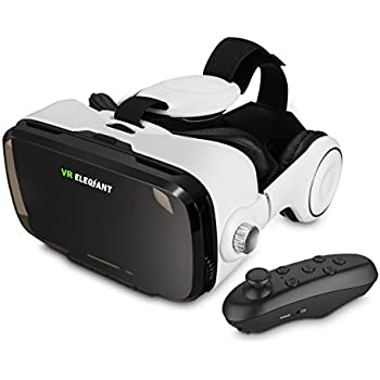 ELEGIANT 3D VR Glasses Headset Virtual Reality Game Box Headset + Bluetooth Controller with Adjustable Lens and Strap for iPhone 5 5s 6s 6 plus Samsung S3 Edge Note 4 and All 4.0-6.0 inch Smartphone Support 3D Movies and Games