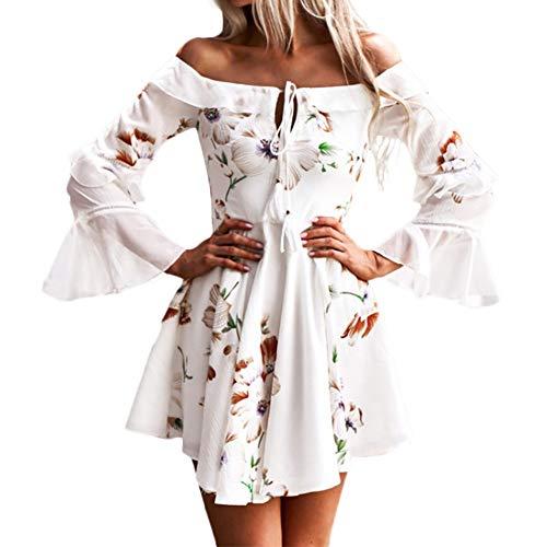 AMUSTER Frauen Langarm Schulterfrei Boho Maxi Kleid Abend Party Strandkleid Off Shoulder Elegant Blumenmuster Partykleid Lace Up Kleid mit Quaste (L, Weiß)