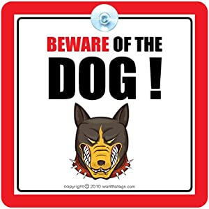 BEWARE OF THE DOG Sign, Guard Dog Security Sign for Car or Home, Dog warning Sign by iwantthatsign.com