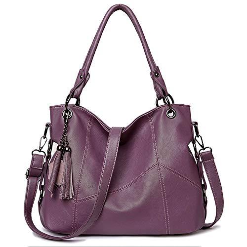 Duofeiya Bolsos de bandolera de mujer Bolsos de hombro de hobo Bolsos de compras de asas grandes para damas púrpura