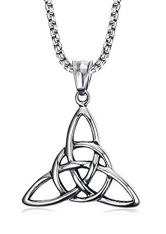 Vnox Edelstahl 3 in 1 Triple Celtic Knot Valknot Trinity Anhänger Halskette Silber für Männer Frauen