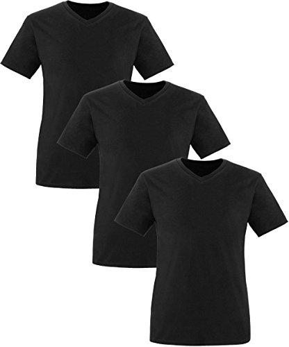 EZYshirt® Herren V-Neck Shirt im 3er Pack Schwarz