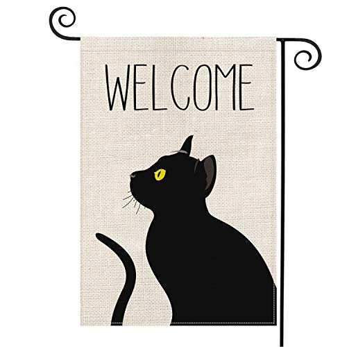 AVOIN Schwarze Katzen-Garten-Flagge, vertikal, doppelseitig, Welcome-Zitat, Halloween, Herbst, Sackleine, Gartendekoration, 31,8 x 45,7 cm