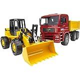 Bruder Spielwaren- Man TGA Kipplastwagen mit Gelenkradlader FR130 Bruder 02752-Camion Ruspa Pala Meccanica, Scala 1:16, Multi