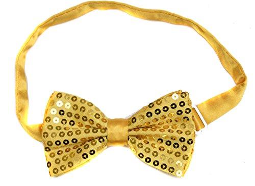 Or jaune classique satiné Sequin Dickie Nœud papillon Fancy Dress Party Pretied enveloppant à clipser