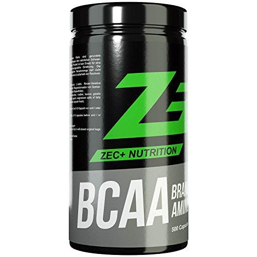 ZEC+ BCAA Kapseln | essentielle Aminosäuren | BCAAs - verzweigtkettige Aminosäuren | hochdosiert | 1000 mg pro Kapsel | 500 Kapseln -