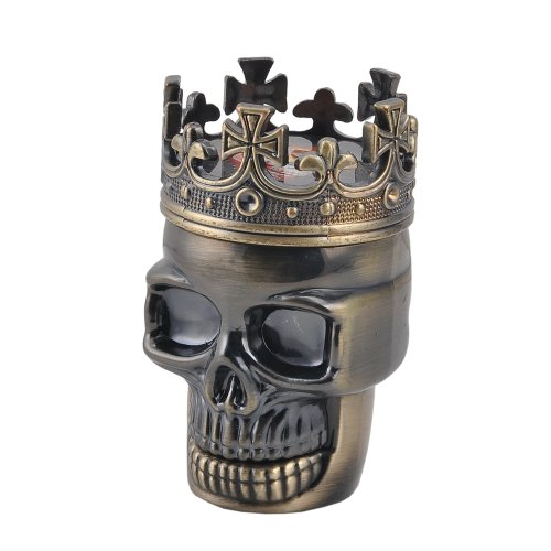 Ebest-King Skull Design Metall Tobacco Herb Spice Grinder Crusher 3 Part Hand Muller Pollen Catcher ,