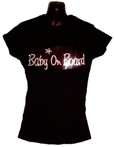 BABY ON BOARD da donna T-shirt da uomo - CON CRISTALLI DESIGN - GRAVIDANZA - GRAVIDANZA - (DIMENSIONI 8 TO 16), Black, 12 LARGE