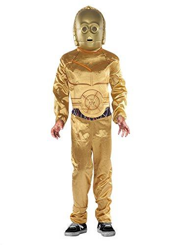 Star Wars Kinderkostüm C3PO mit Anzug und Maske - gold - 8-10 (C3po Maske)