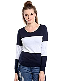 The Dry State Women's Cotton Navy Blue Multi Panel Full Sleeves Tshirt