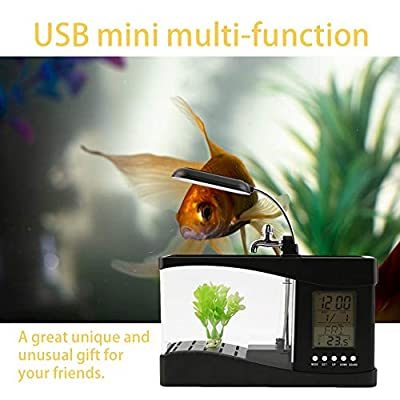 laonBonnie Neue USB Desktop Mini Aquarium Aquarium LCD Timer Clock LED Lampe Licht schwarz Worldwide Store - schwarz