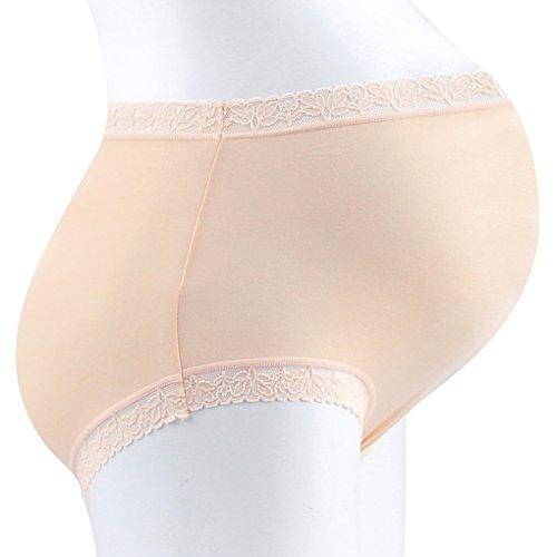 Vogue of Eden Women's Modal Maternity Brief Pregnant Underwear Panties(3pcs) Nude