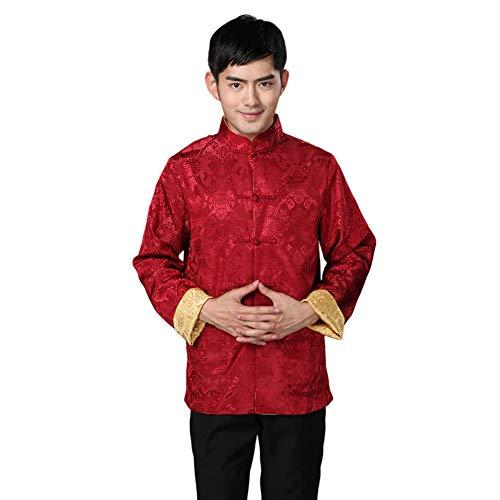 Meijunter Herren Chinesisch Kleidung Tang Anzug - Wing Chun Shaolin Tai Chi Traditionell Kostüm Kampfkunst Kung Fu Lange Ärmel Beidseitige Jacke Hemd Uniform (Bilder Von Verschiedenen Traditionellen Kostüm)
