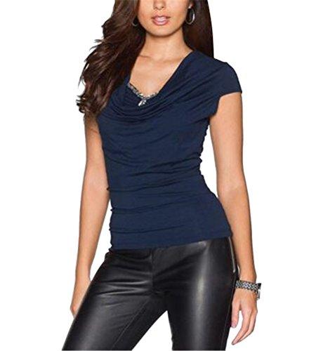 SMITHROAD Damen T-Shirt Sommer Kurzarm Wasserfallausschnitt mit Strass Applikationen Falten Oberteil Dunkelblau