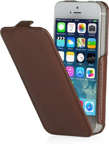 StilGut Slim Case (Variante B) kompatibel mit iPhone 5 & iPhone 5s aufklappbar, Cognac Vertical Slim Case