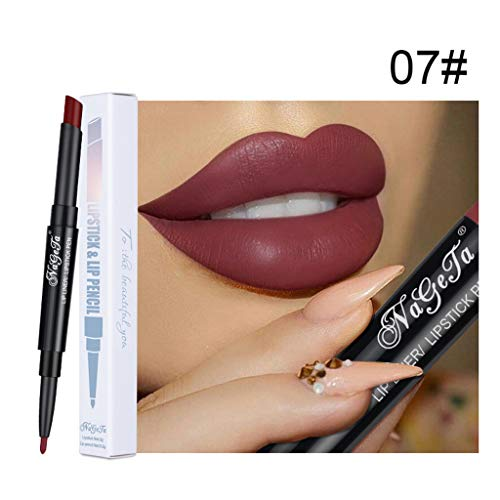 (Mitlfuny➤Black Friday & Cyber Monday -80%➤Doppelter wasserdichter langlebiger Bleistift-Lippenstift-Stift-Mattlippenzug-Make-up)