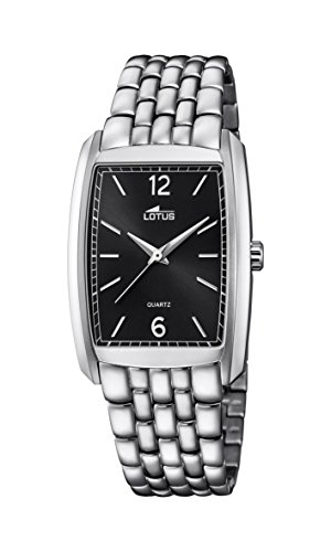 Lotus Unisex Quartz Watch with Black Dial Analogue Display and Silver Stainless Steel Bracelet 18353/4
