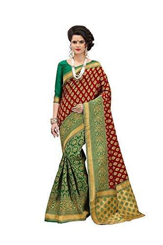 6af3fcdc73f0a J B Fashion Women s Banarasi Silk Green Red Saree with Blouse Piece(1003  Star Green-