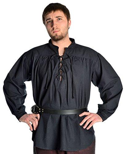 Piratenhemd Mittelalterhemd Schnürhemd Hemd weiß - schwarz S-XXXL (M, schwarz)