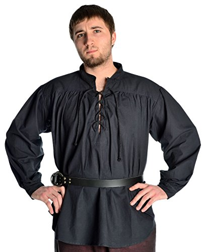 HEMAD Piratenhemd Mittelalterhemd Schnürhemd Hemd schwarz XXL