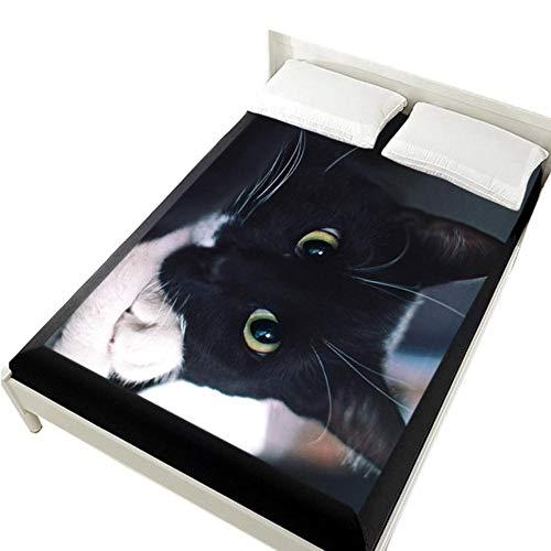 PENVEAT 3D Bettwäsche auf Gummibandbett, 160x200 Spannbettlaken, Matratzenbezug für das Bett.Bettlaken, Bettwäsche Tier Orange Katze Bettwäsche Kids, Pet-11,160x200 Deep 30cm