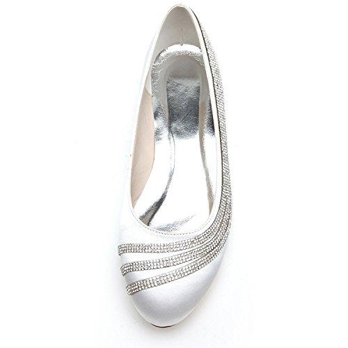 Elobaby Décolleté Donna D9872-13 Scarpe Stringate da Sposa con Tacco a Punta Chiusa con Gattino Silver