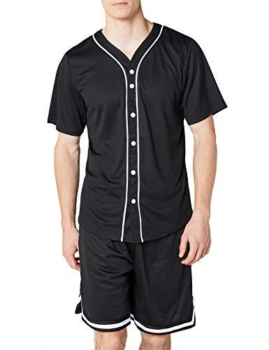 Urban Classics TB1237 Herren T-Shirt Baseball Mesh Jersey, Gr. X-Large, Mehrfarbig (blk/wht 50)