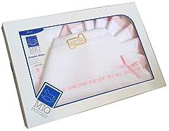 Idea Regalo - set lenzuolino 3 pz culla carrozzino da ricamare con inserti in san gallo (rosa)