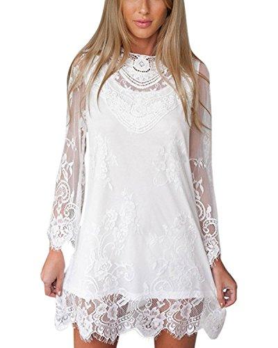 Robe cocktail blanche transparente