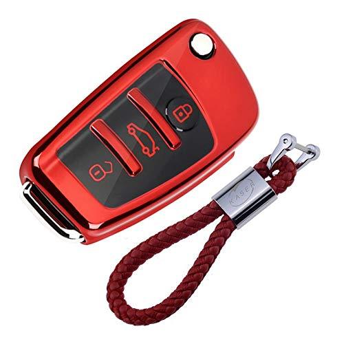 Autoschlüssel Hülle für Audi - Cover TPU Silikon Hochglanz Schutzhülle Schlüsselhülle für Audi A1 A2 A3 A4 A5 A7 Q1 Q3 Q5 TT (Rot)