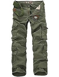 Allthemen Pantalon de Travail Homme Style Cargo - Multipoches sans Ceinture 45f89f9a2cc