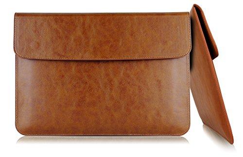 MyGadget 13 Zoll Kunstleder Hülle Laptop Sleeve - Slim PU Leder Tasche dünne Schutzhülle Laptophülle u.a. Apple MacBook Pro 13 Zoll & Pro Retina - Braun
