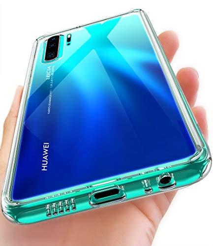 OCYCLONE Huawei P30 Pro Hülle, [Gehärtetes Glas Rückseite] Hybrid Crystal Clear mit Soft TPU Bumper Transparent Dünn Slim DurchsichtigeSchützhülle für Huawei P30 Pro- Klar