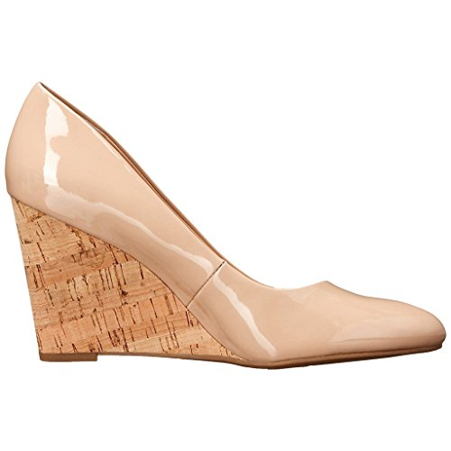 MERUMOTE Damen Y-063 Keilabsatz High Heels Kleid Pumpen-Schuhe Nackt-Lack
