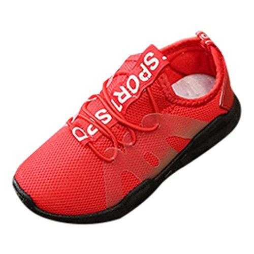 QinMM Kinder Schuhe Kind Jungen Mädchen Brief Sport Lauf Stil Mesh Sneaker Freizeitschuhe Sommer Laufschuhe Rot Schwarz 25-36 (25, Rot)