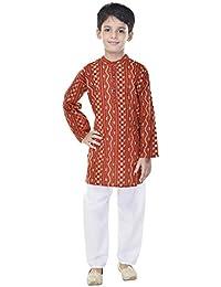 Soundarya Cotton Printed Kurta and Payajama Set For Boys (Color - Rust)