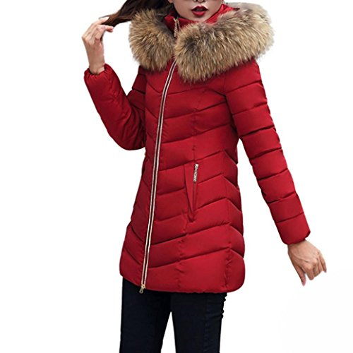 TWIFER Damen Mode Winter Jacke Lang Dick Warm Daunenjacke Slim Coat Overcoat (2XL, Weinrot)