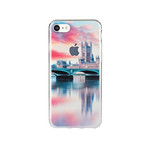 DBIT iPhone 7 Case, PU Pelle Flip Placcatura TPU Custodia Protezione Case Cover per Apple iPhone 7,Argento castello