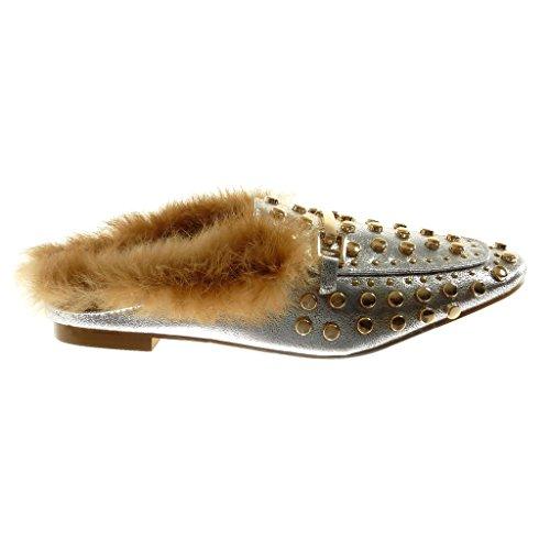 Angkorly Fashion Chaussures Slippers Oriental Slip-on Femme Fourrure Cloutée Doro Block Talon 1.5 Cm Argent