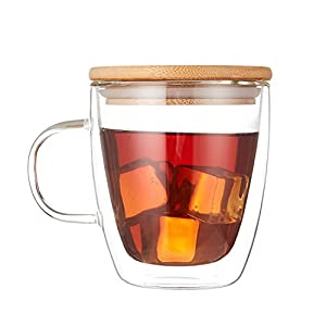Cooko Crystal Coffee Glass Cup,Double Wall Glass,Heat-Resistant Cup,High Borosilicate Mug with Bamboo Lid for Tea,Latte,Milk,Beer,Juice,350ml set of 1
