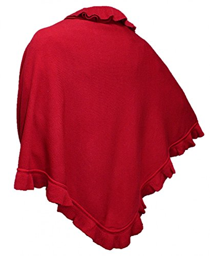 Cape Trachtentuch Poncho Umhang Stola Schultertuch Tuch Strickponcho Tracht, Farbe:rot