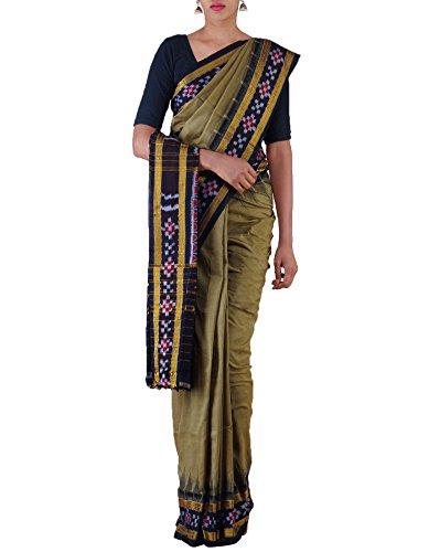 Unnati Silks Women Green-Black Pure Handloom Sambalpuri Cotton Ikat Saree(UNM22052)
