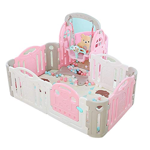 Baby playpen Portable Game Fence Kids Play Yard,Baby Home ABS Panels Safety Fence with Swing Activity Center  Sugar-Bai